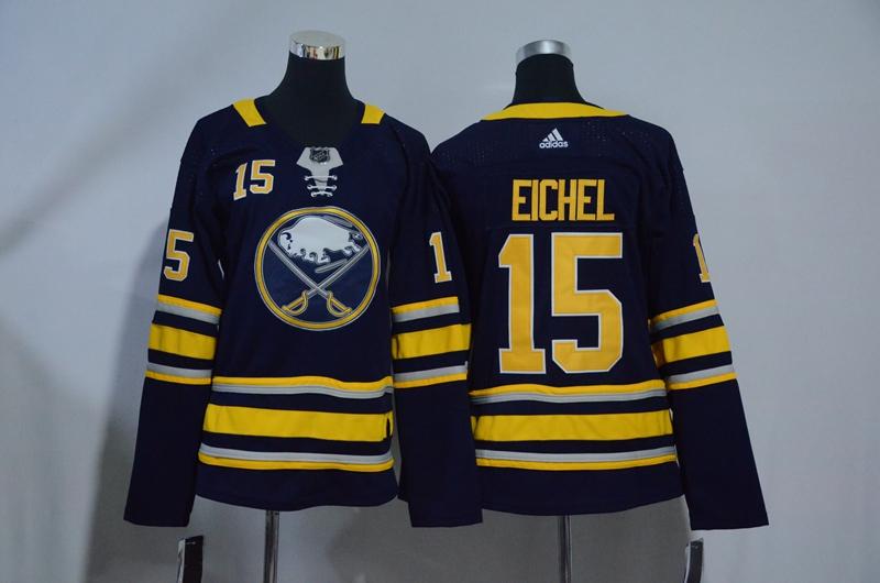 Sabres 15 Jack Eichel Navy Women Adidas Jersey