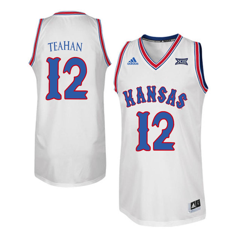 Kansas Jayhawks 12 Chris Teahan White Throwback College Basketball Jersey