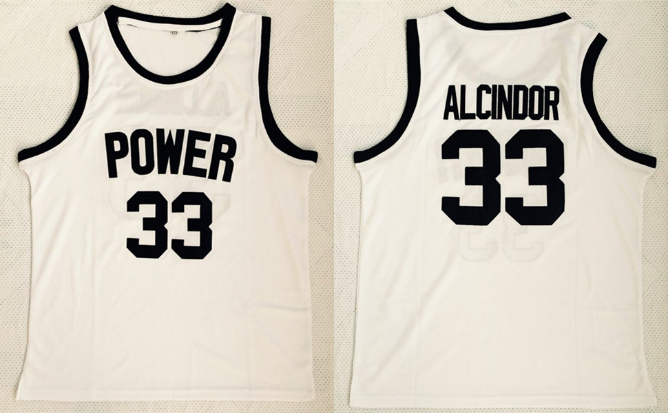 Power Memorial High School 33 Kareem Abdul-Jabbar White Basketball Jersey