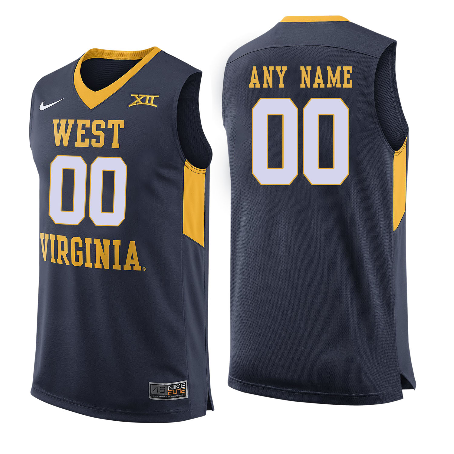 West Virginia Mountaineers Navy Men's Customized College Basketball Jersey