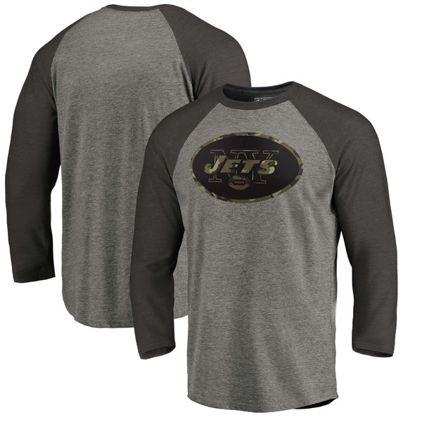 New York Jets NFL Pro Line by Fanatics Branded Black Gray Tri Blend 34-Sleeve T-Shirt