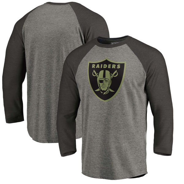 Oakland Raiders NFL Pro Line by Fanatics Branded Black Gray Tri Blend 34-Sleeve T-Shirt