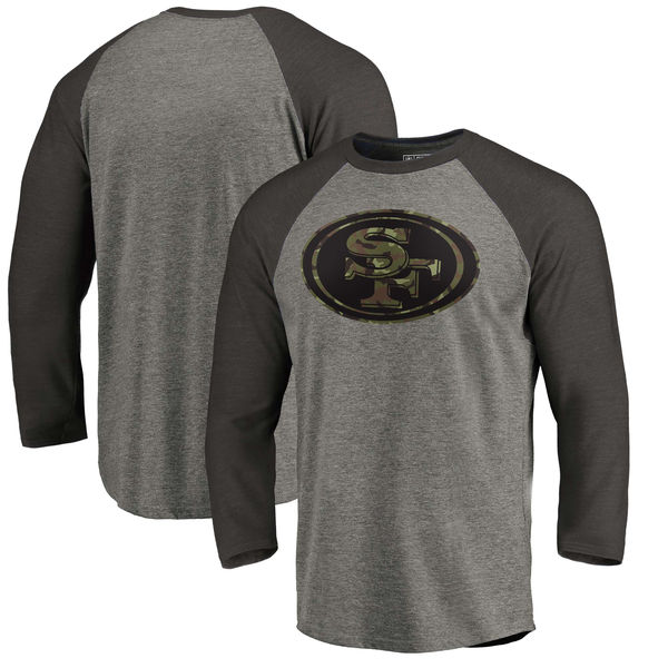 San Francisco 49ers NFL Pro Line by Fanatics Branded Black Gray Tri Blend 34-Sleeve T-Shirt
