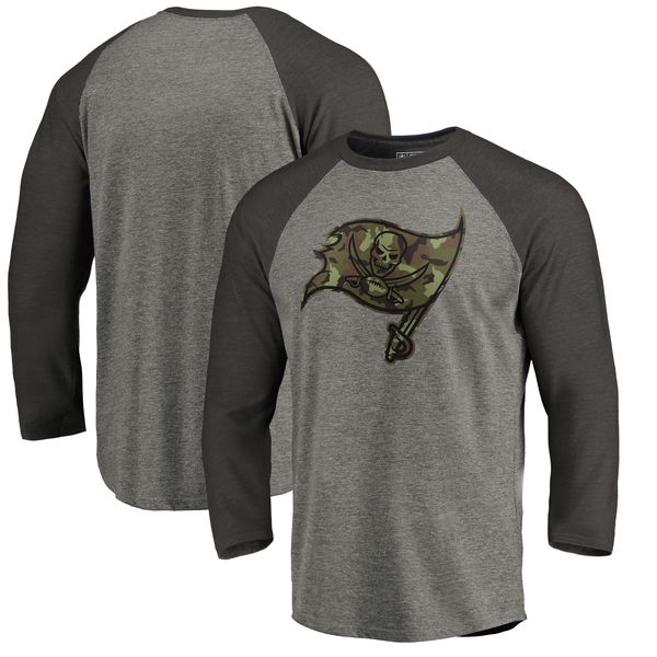 Tampa Bay Buccaneers NFL Pro Line by Fanatics Branded Black Gray Tri Blend 34-Sleeve T-Shirt