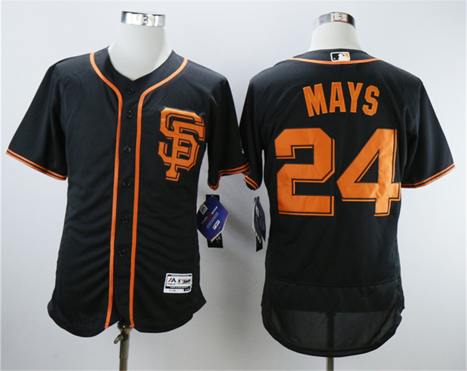 Giants 24 Willie Mays Black Flexbase Jersey