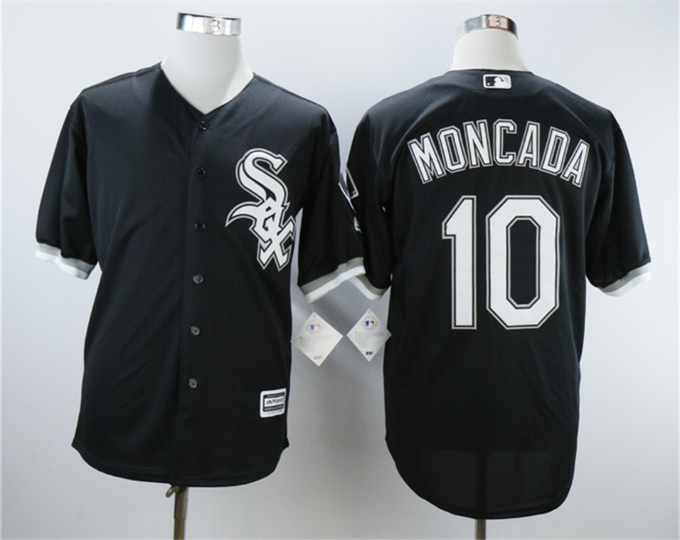 White Sox 10 Yoan Moncada Black Cool Base Jersey