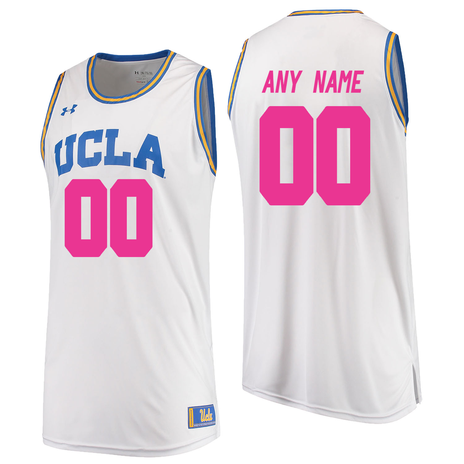 UCLA Bruins White 2018 Breast Cancer Awareness Men's Customized College Basketball Jersey