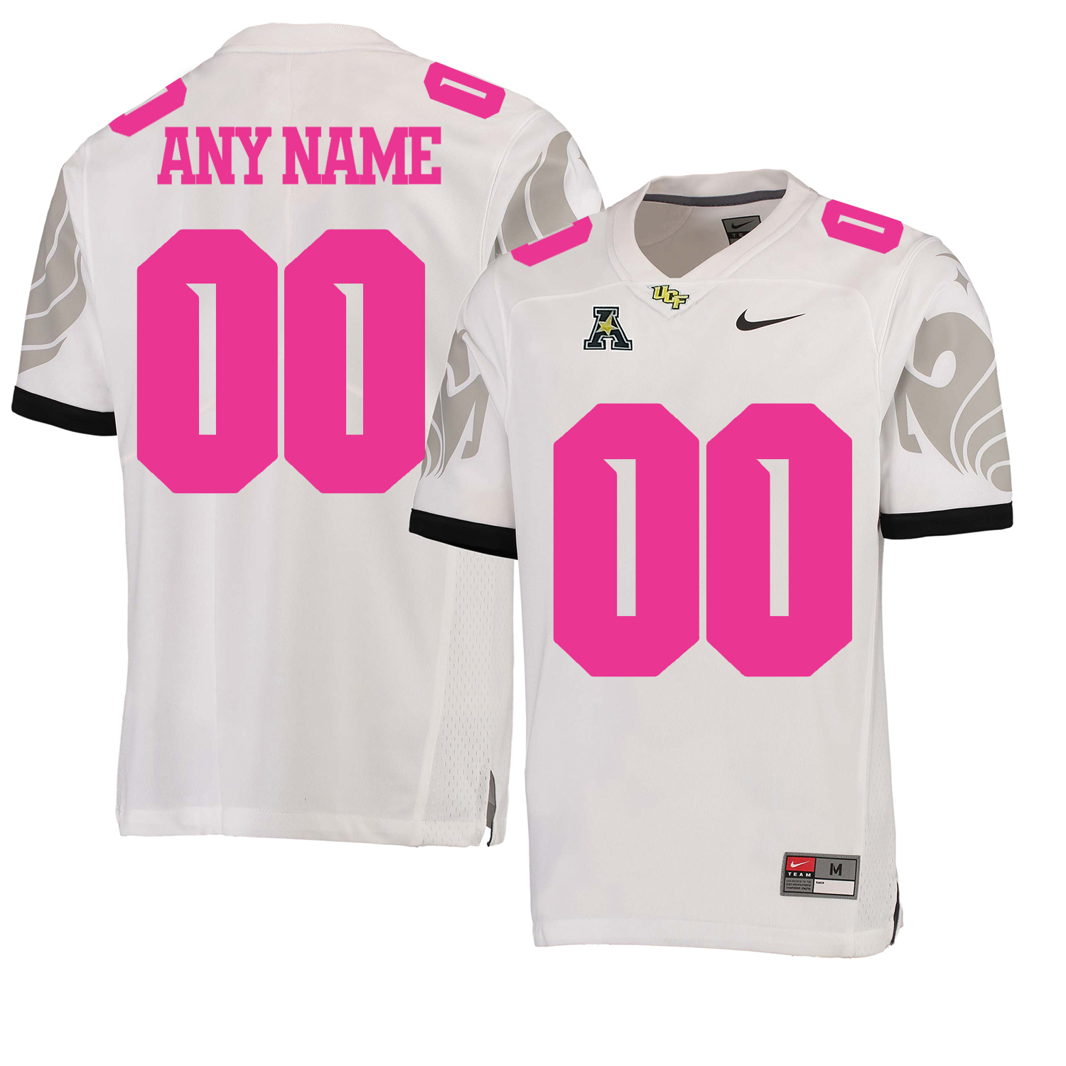 UCF Knights White 2018 Breast Cancer Awareness Men's Customized College Football Jersey