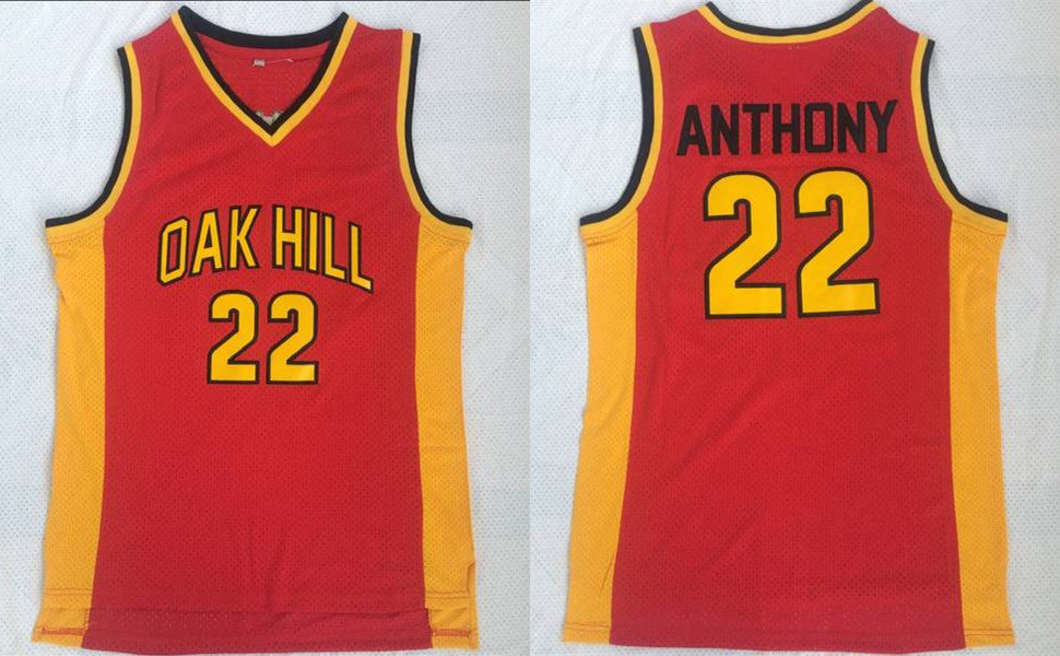 Oak Hill 22 Carmelo Anthony Red High School Basketball Jersey