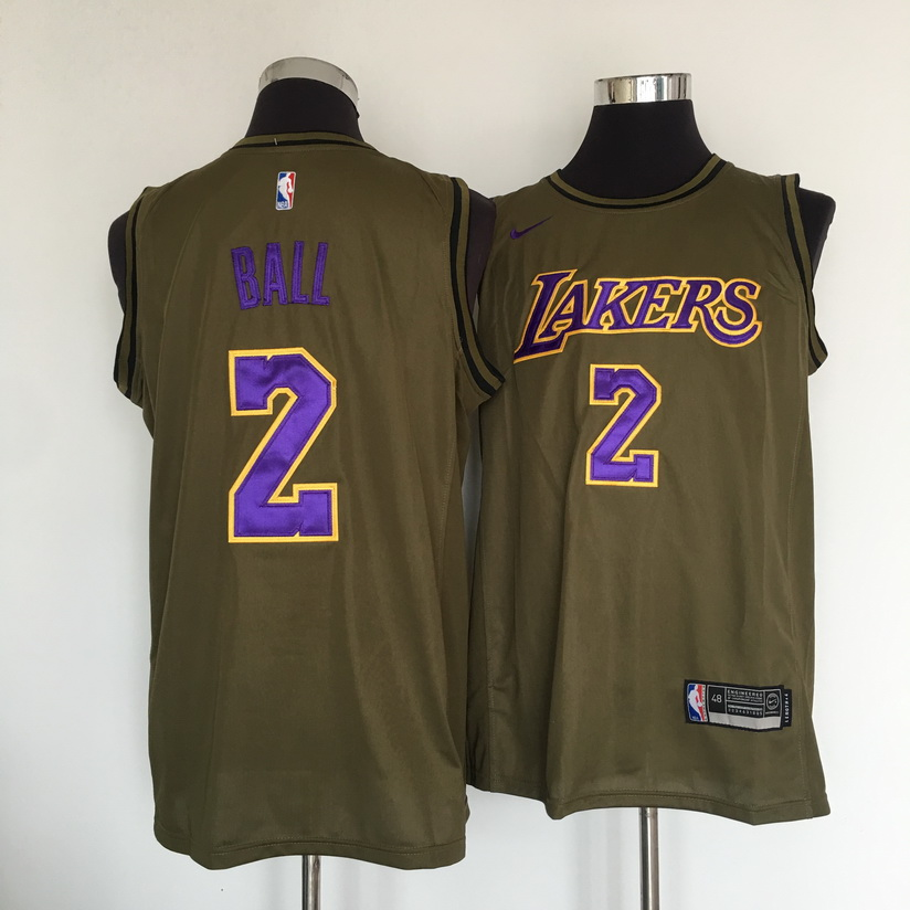 Lakers 2 Lonzo Ball Olive Nike Swingman Jersey