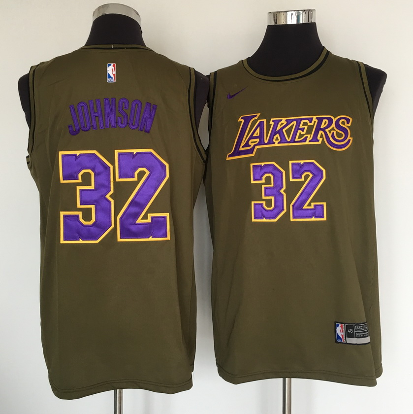 Lakers 32 Magic Johnson Olive Nike Swingman Jersey