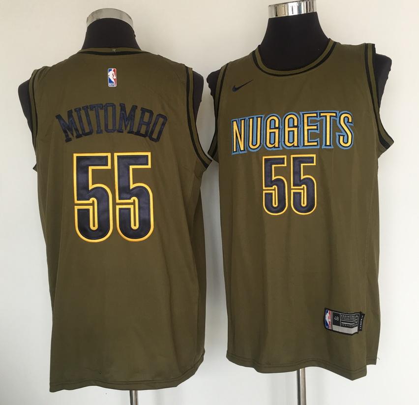 Nuggets 55 Dikembe Mutombo Olive Nike Swingman Jersey