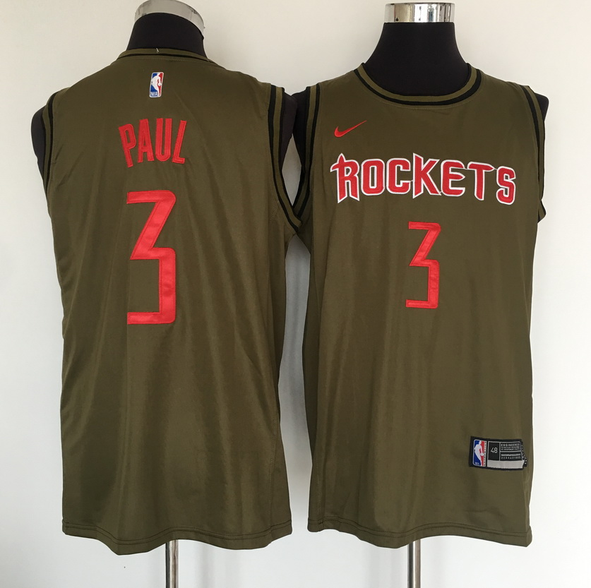 Rockets 3 Chris Paul Olive Nike Swingman Jersey