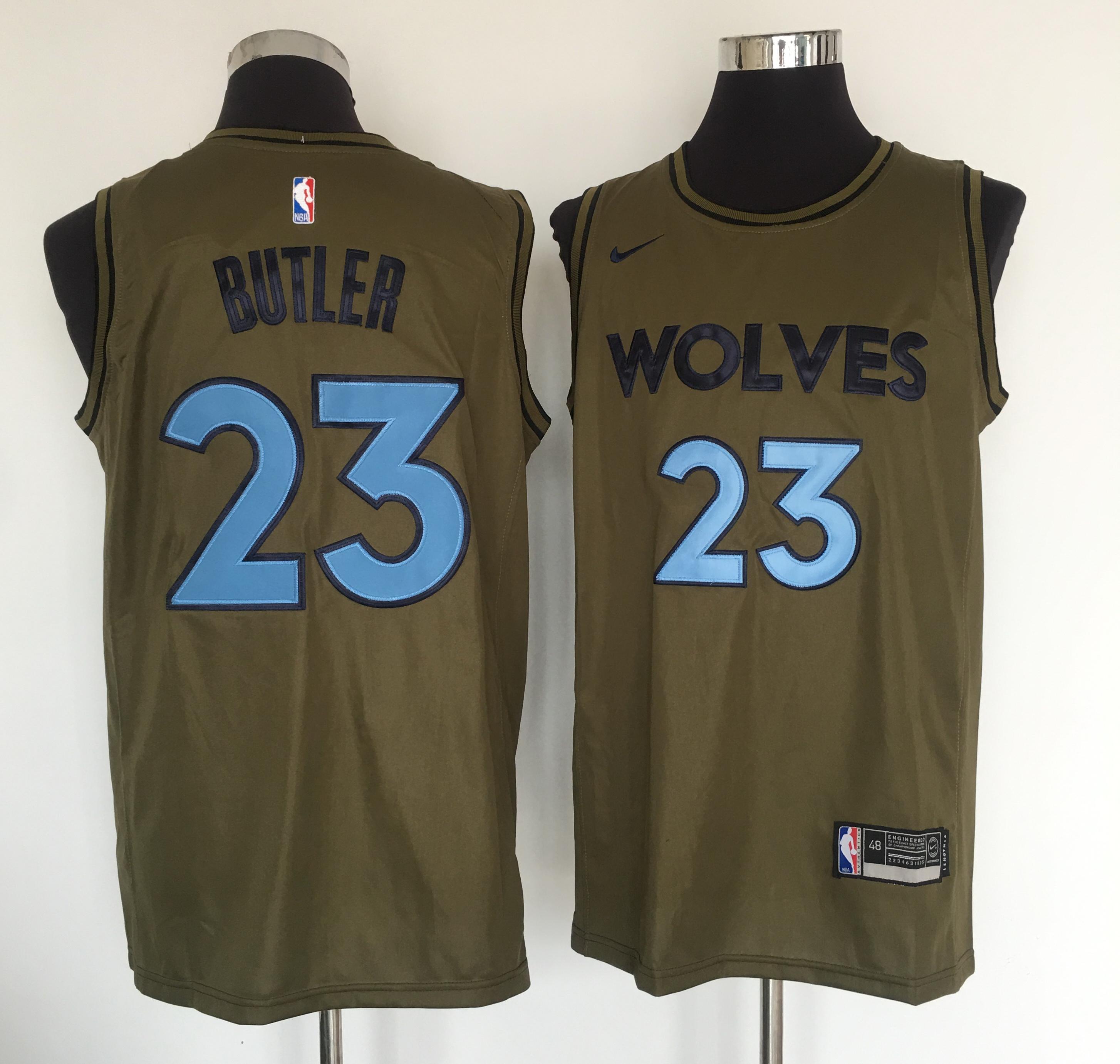 Timberwolves 23 Jimmy Butler Olive Nike Swingman Jersey
