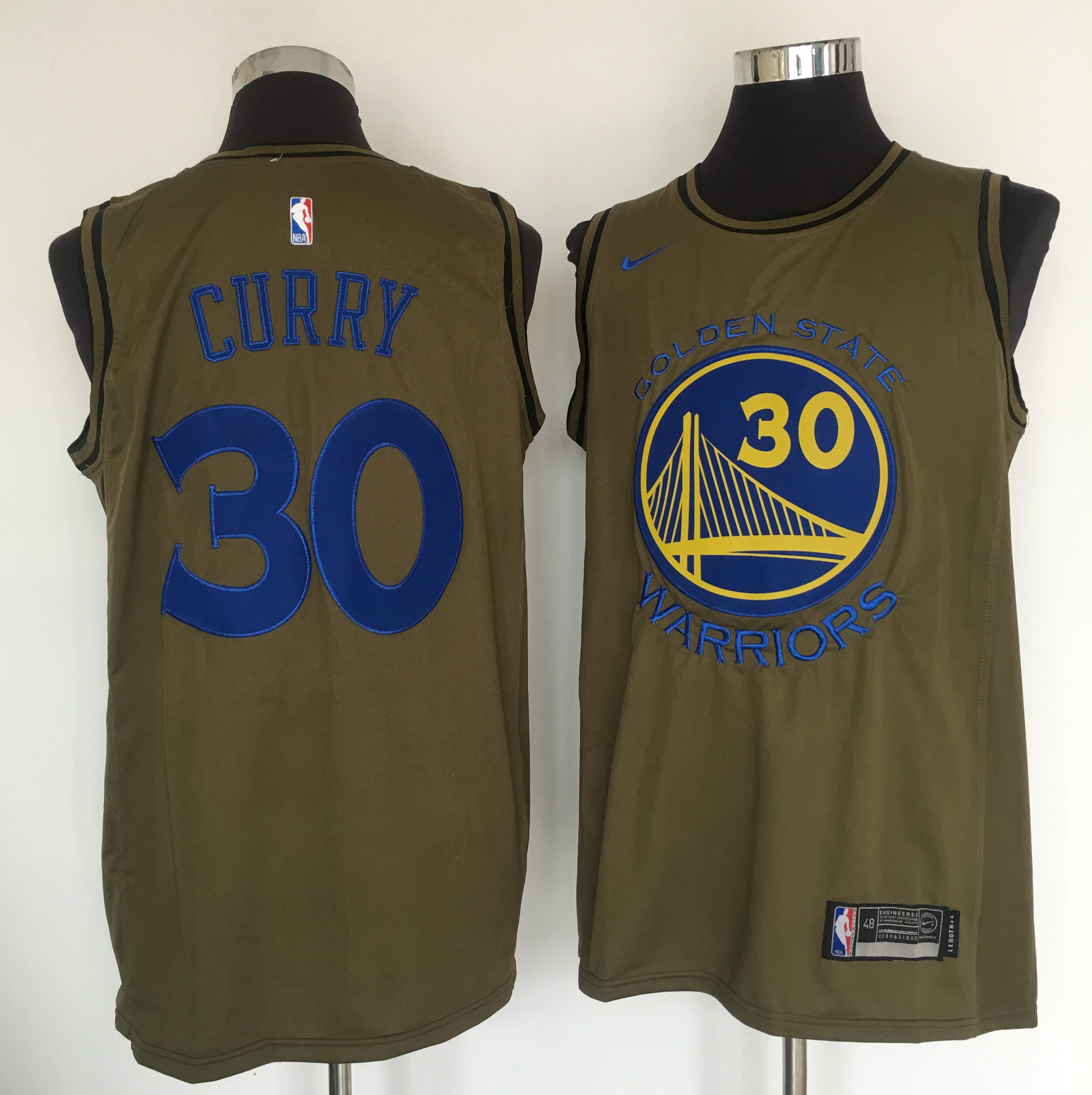 Warriors 30 Stephen Curry Olive Nike Swingman Jersey