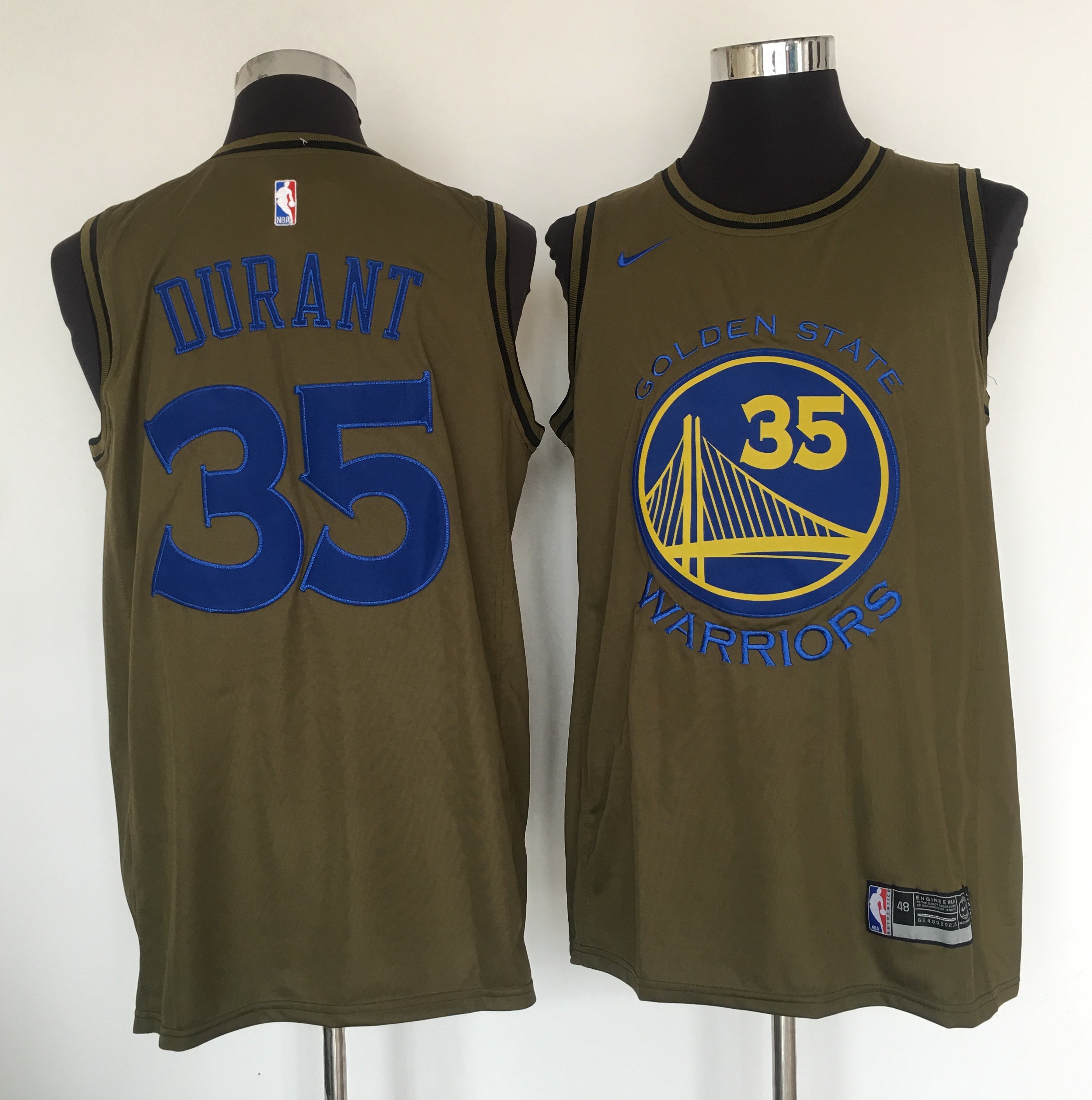 Warriors 35 Kevin Durant Olive Nike Swingman Jersey