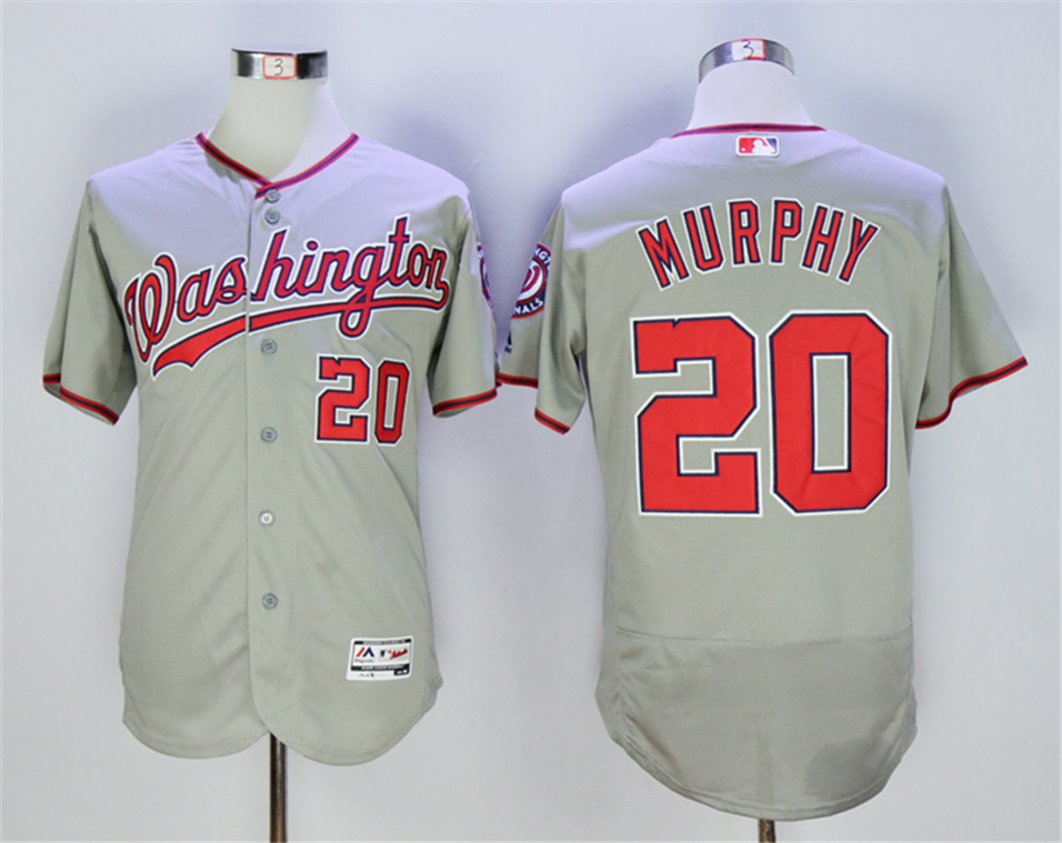 Nationals 20 Daniel Murphy Gray Flexbase Jersey