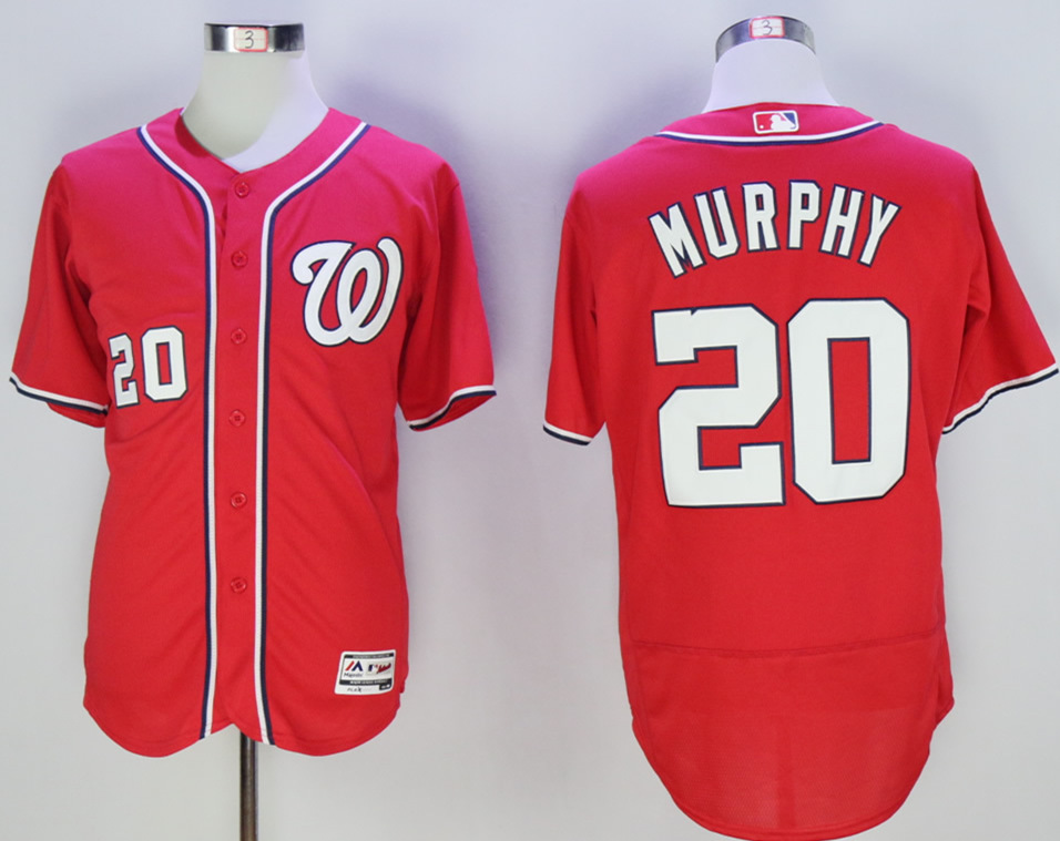 Nationals 20 Daniel Murphy Red Flexbase Jersey