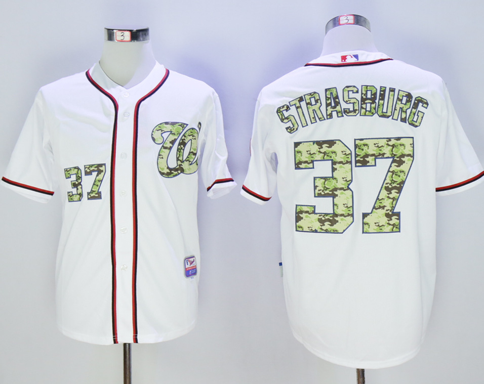 Nationals 37 Stephen Strasburg White Camo Cool Base Jersey