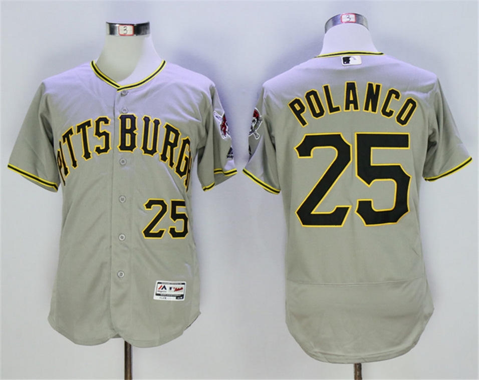 Pirates 25 Gregory Polanco Gray Flexbase Jersey