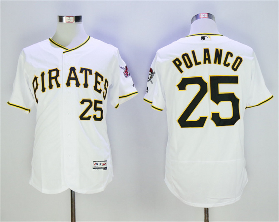 Pirates 25 Gregory Polanco White Flexbase Jersey