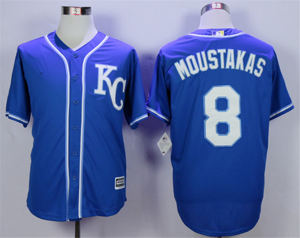 Royals 8 Mike Moustakas Royal Cool Base Jersey