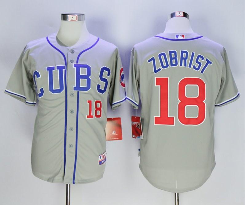 Cubs 18 Ben Zobrist Gray Cool Base Jersey