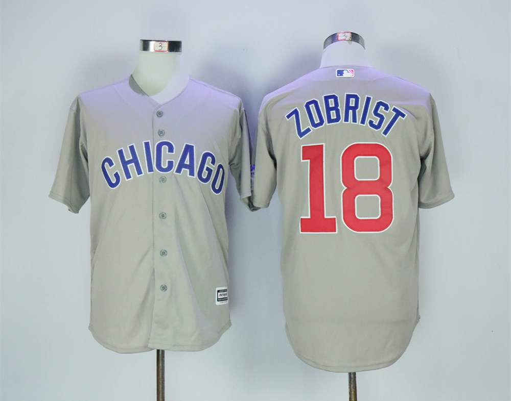 Cubs 18 Ben Zobrist Gray Road Cool Base Jersey
