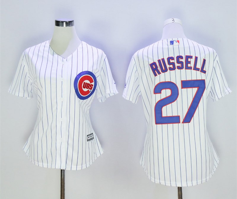 Cubs 27 Addison Russell White Women Cool Base Jersey