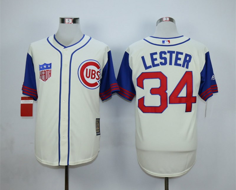 Cubs 34 Jon Lester Cream Cooperstown Collection Jersey
