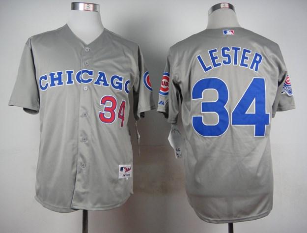 Cubs 34 Jon Lester Gray Throwback Jersey