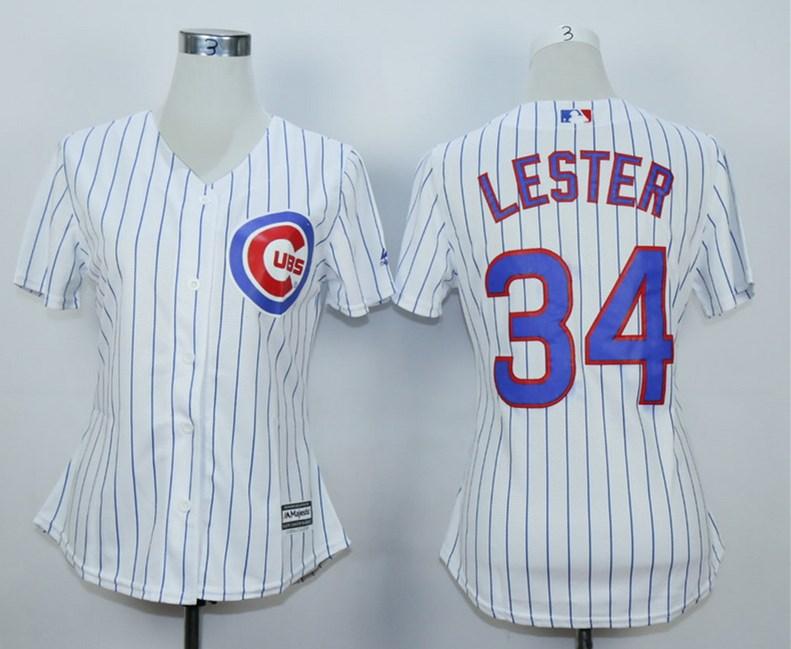 Cubs 34 Jon Lester White Women Cool Base Jersey