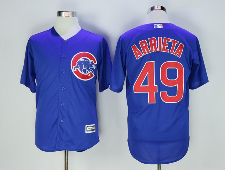 Cubs 49 Jake Arrieta Royal New Cool Base Jersey