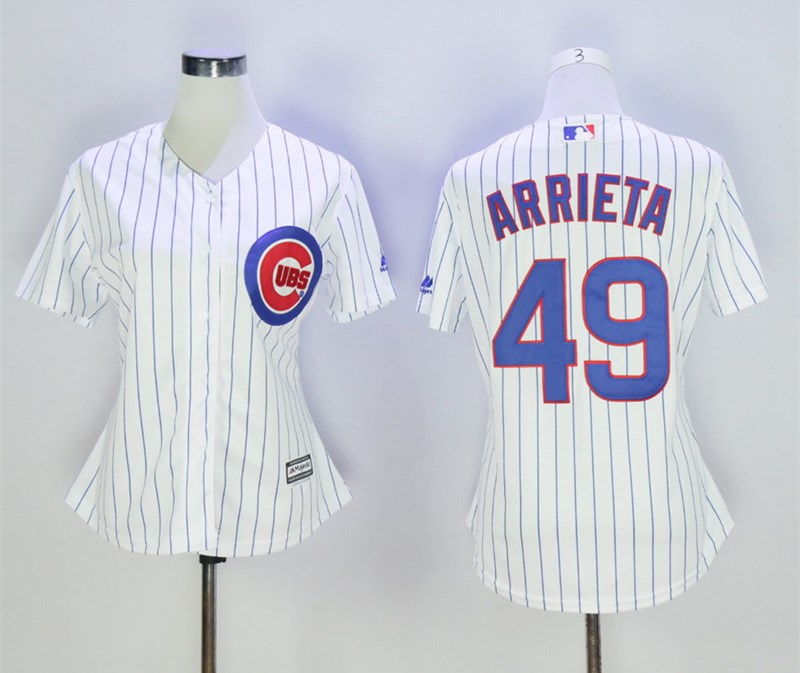 Cubs 49 Jake Arrieta White Women Cool Base Jersey