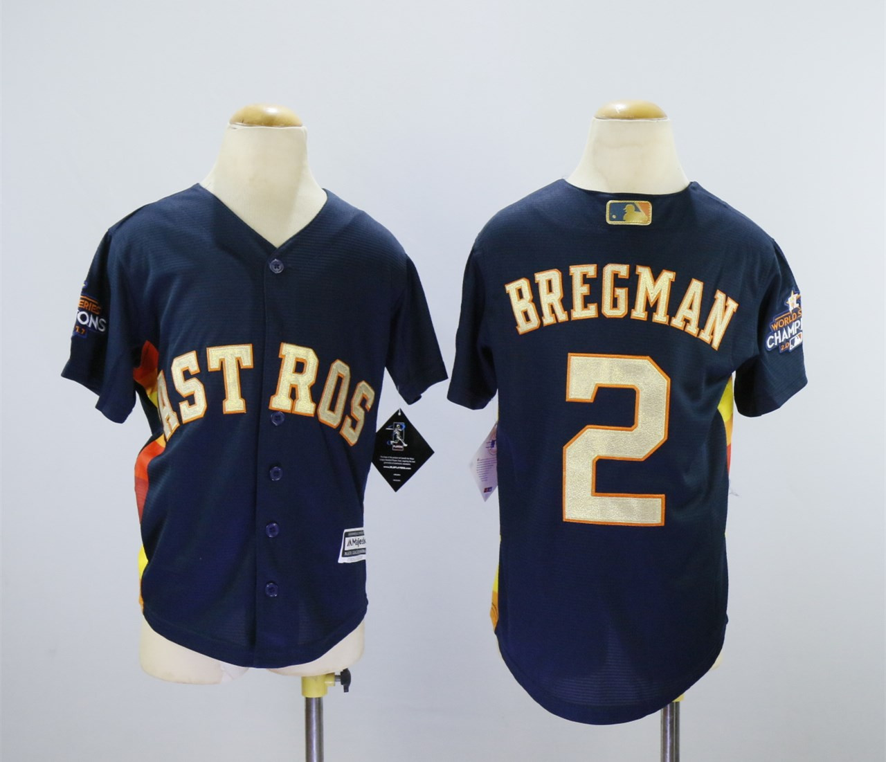 Astros 2 Alex Bregman Navy Youth 2018 Gold Program Cool Base Jersey