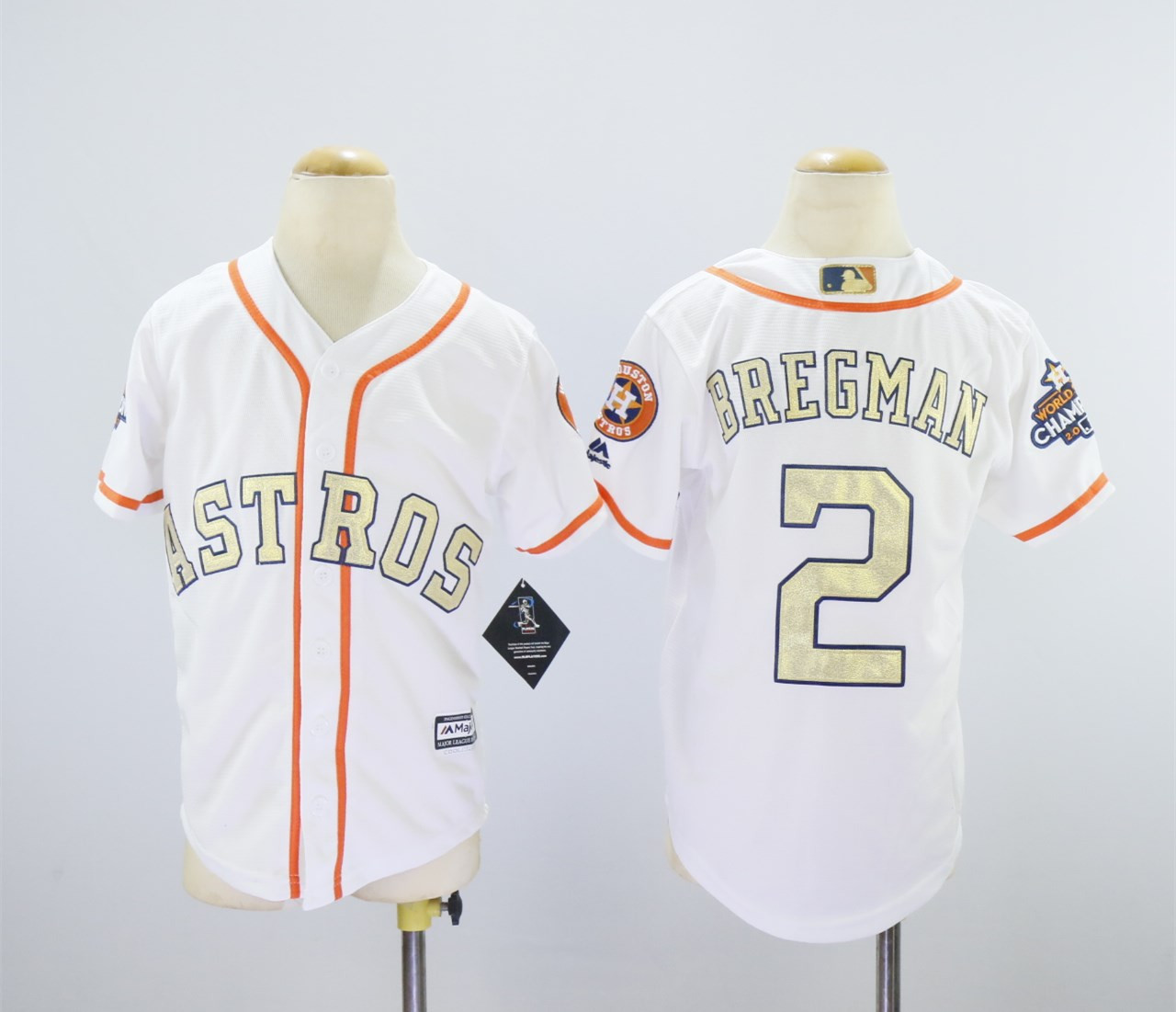 Astros 2 Alex Bregman White Youth 2018 Gold Program Cool Base Jersey