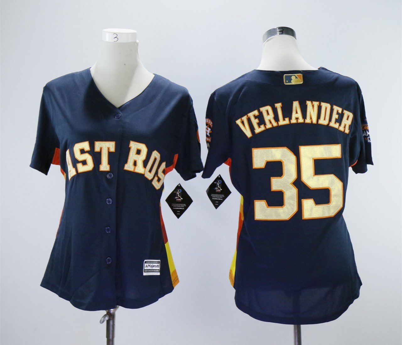 Astros 35 Justin Verlander Navy Women 2018 Gold Program Cool Base Jersey