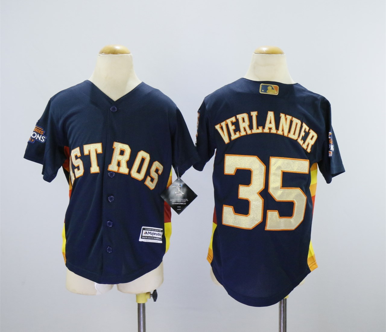 Astros 35 Justin Verlander Navy Youth 2018 Gold Program Cool Base Jersey