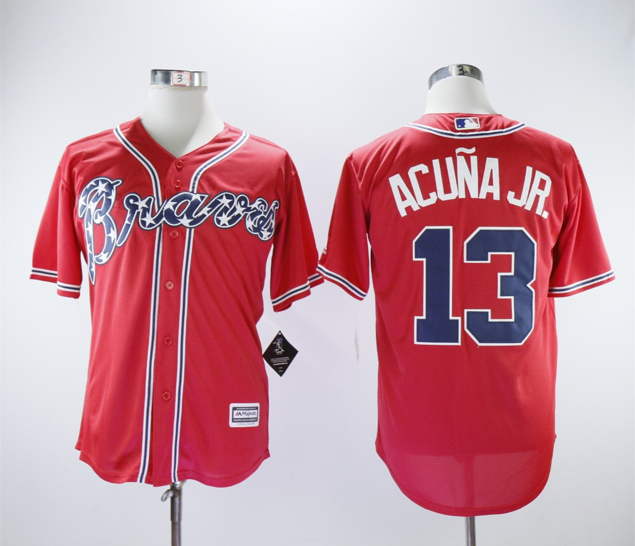 Braves 13 Ronald Acuna Jr. Red Cool Base Jersey