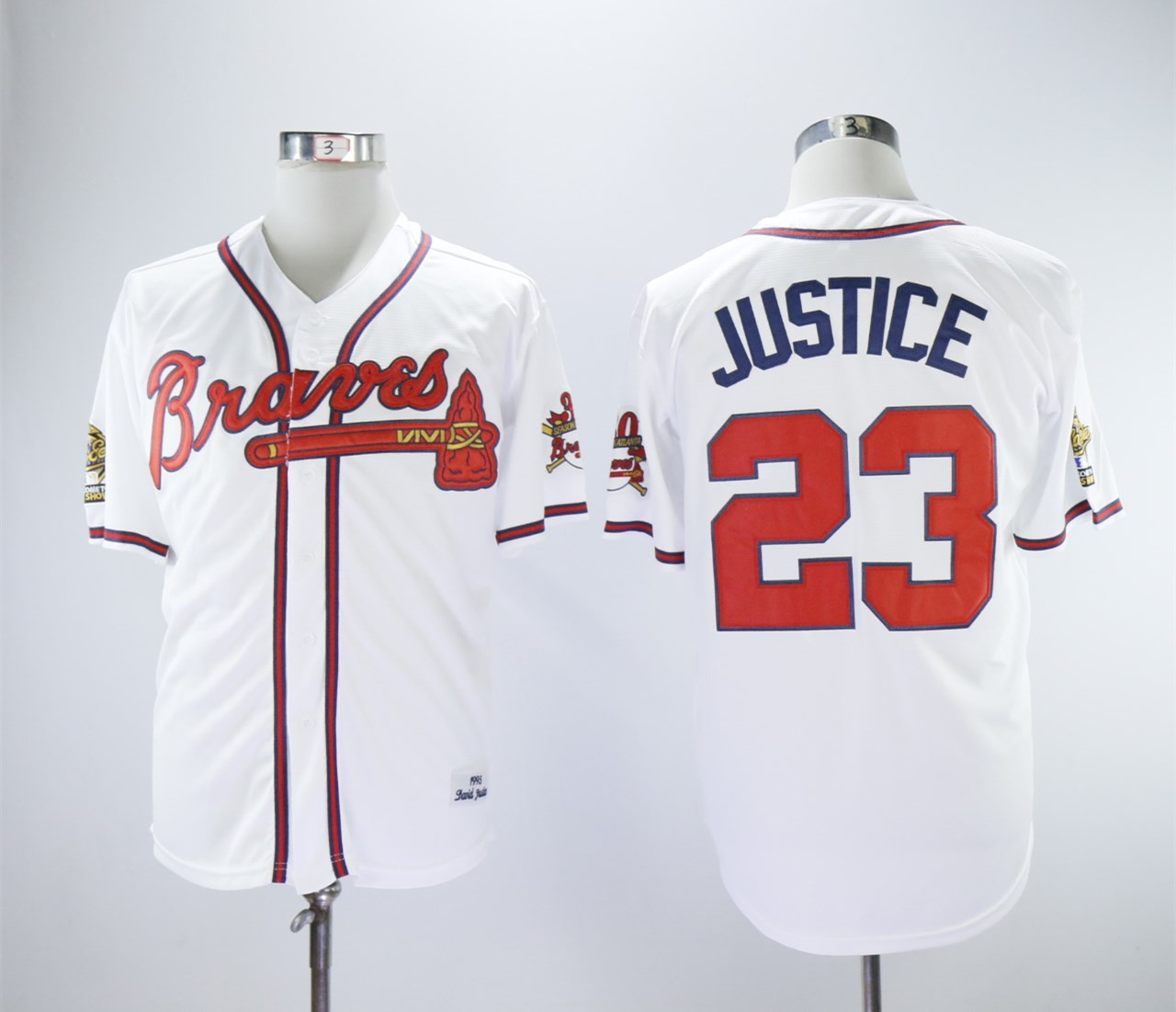 Braves 23 David Justice White 1993 Throwback Jersey