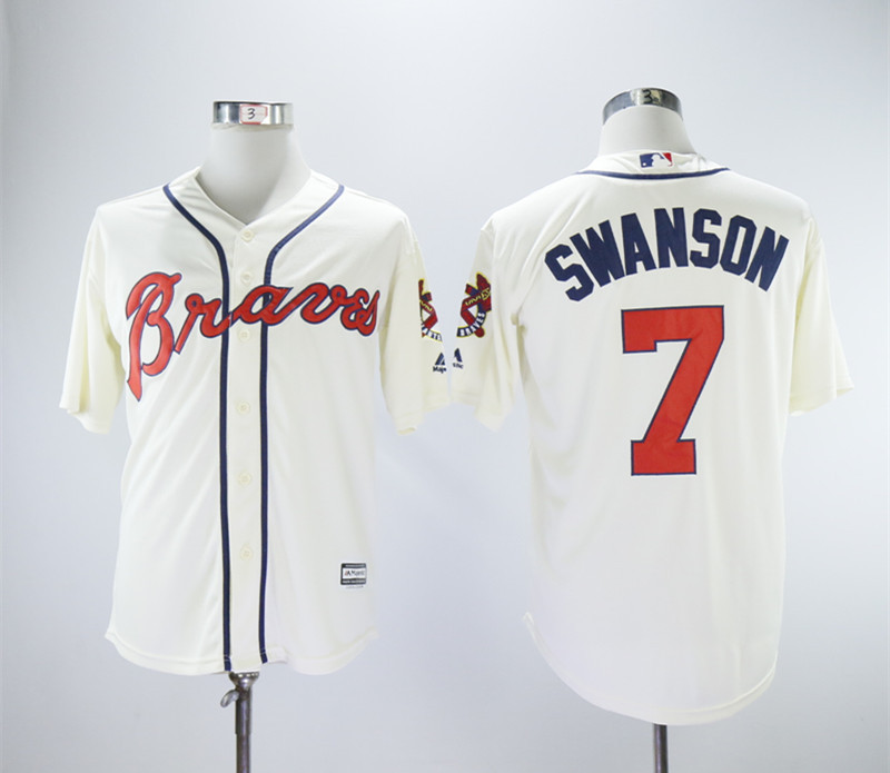 Braves 7 Dansby Swanson Cream Cool Base Jersey