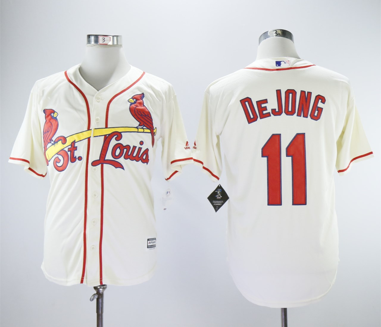 Cardinals 11 Paul DeJong Cream Cool Base Jersey