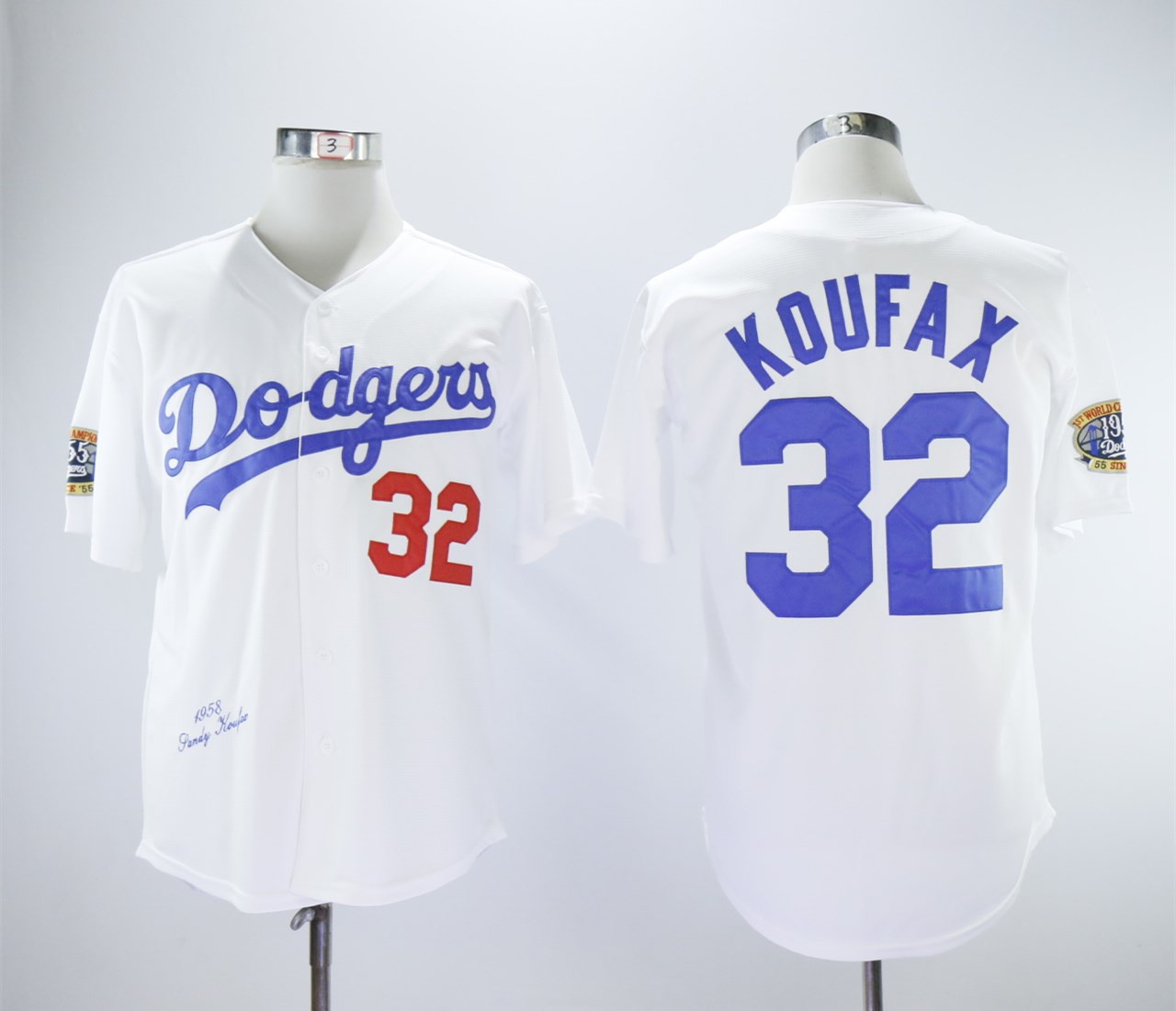 Dodgers 32 Sandy Koufax White 1958 Throwback Jersey