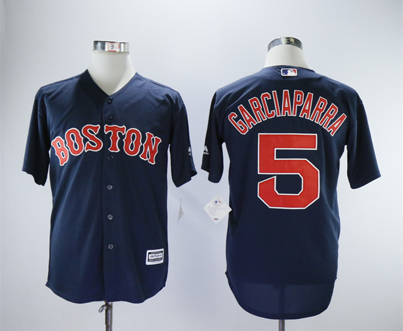 Red Sox 5 Nomar Garciaparra Navy Throwback Jersey