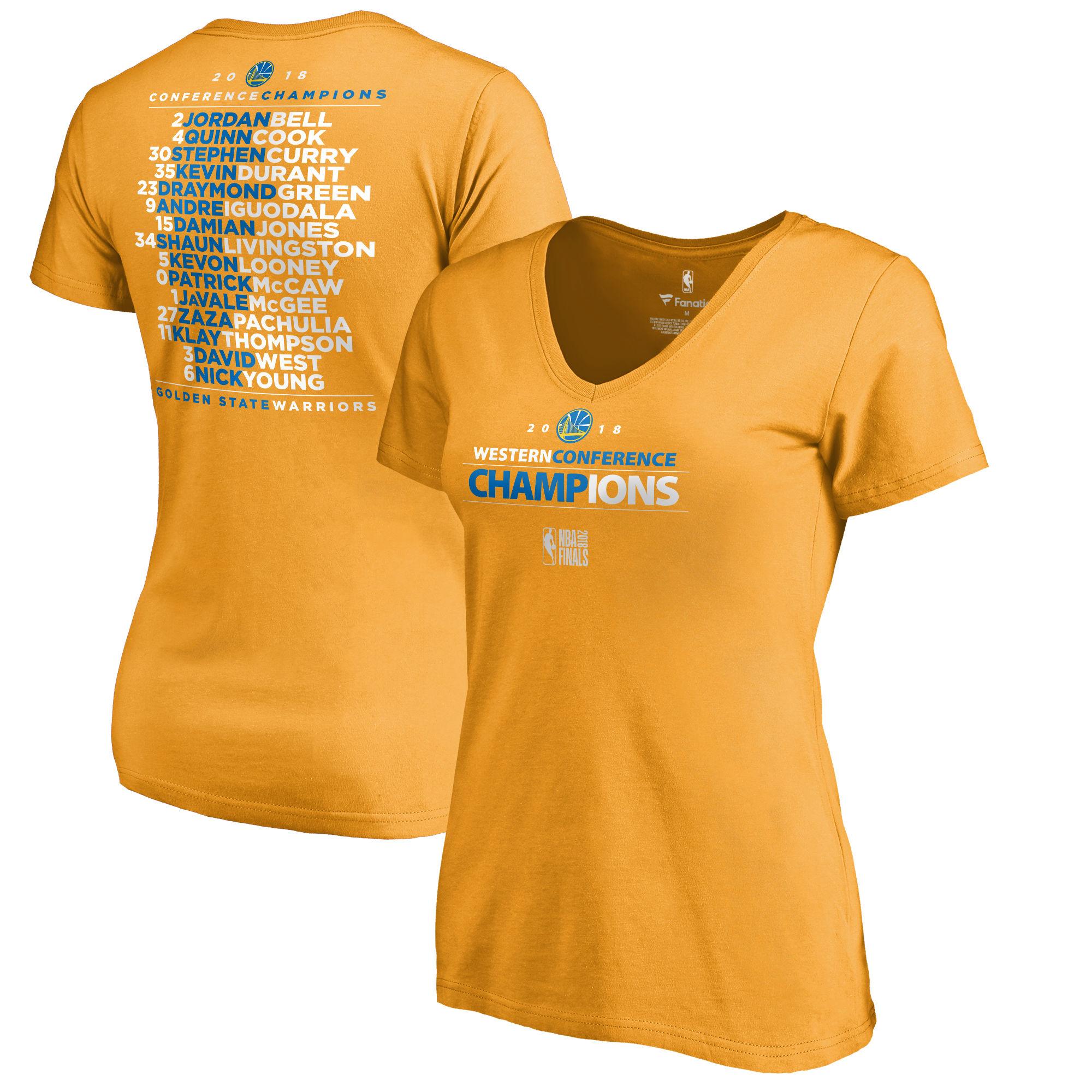 Golden State Warriors Fanatics Branded Women's 2018 Western Conference Champions Backcourt Blacktop T-Shirt Gold