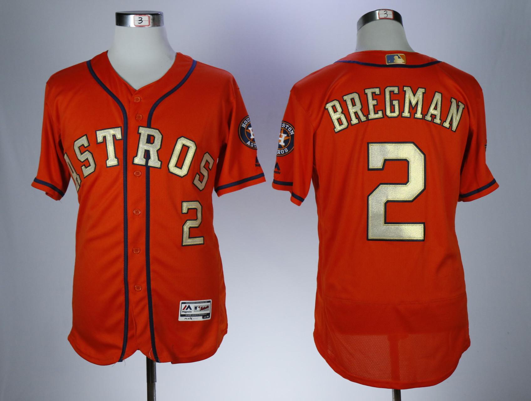 Astros 2 Alex Bregman Orange 2018 Gold Program Flexbase Jersey