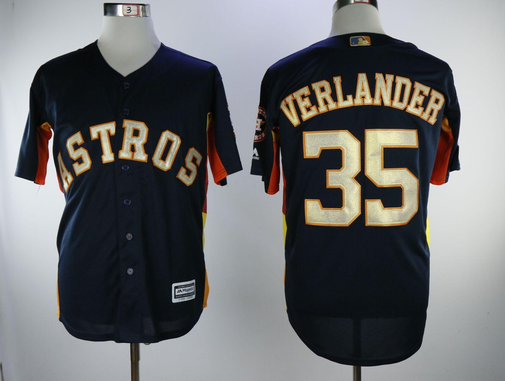 Astros 35 Justin Verlander Navy 2018 Gold Program Cool Base Jersey