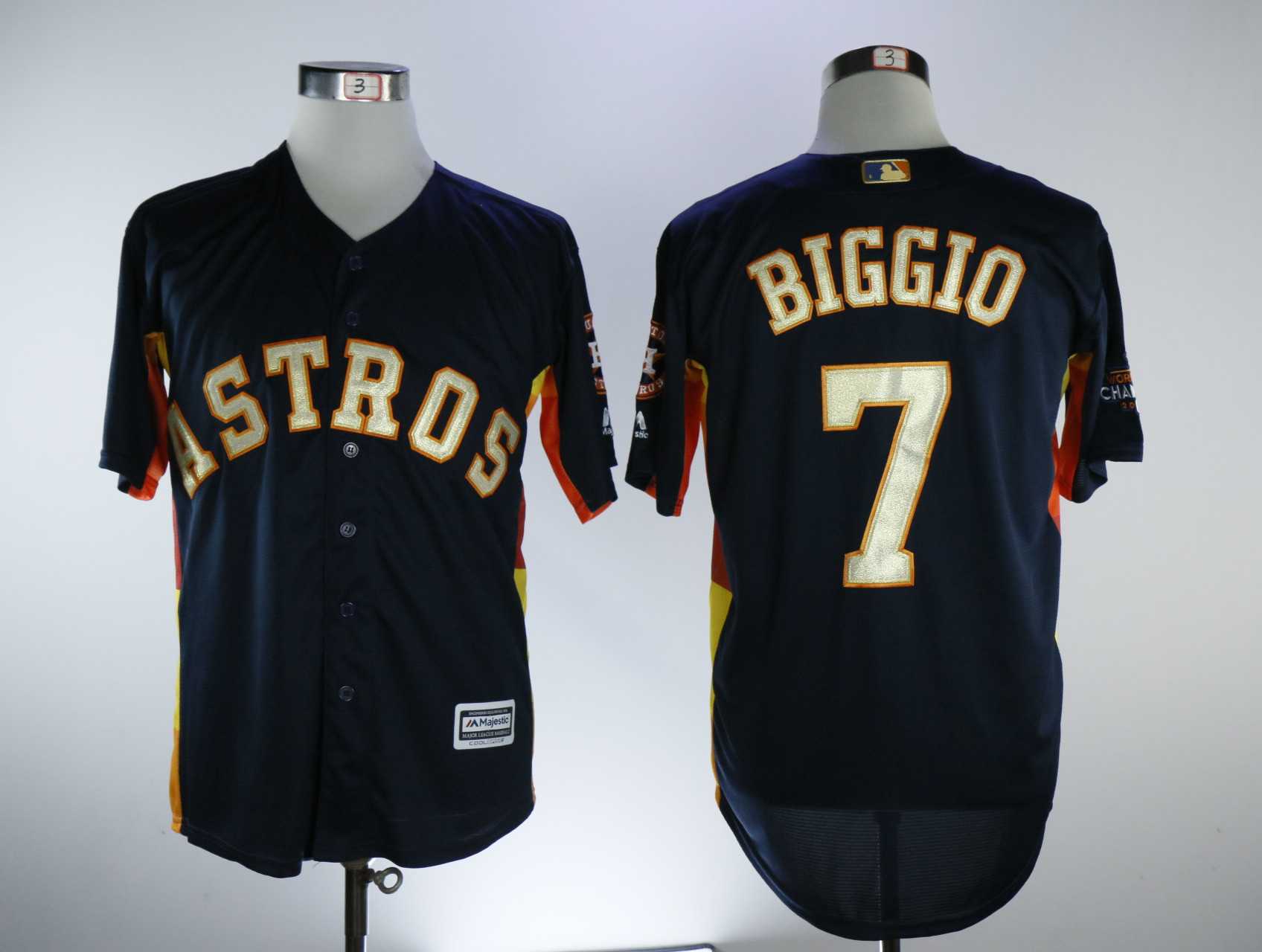 Astros 7 Craig Biggio Navy 2018 Gold Program Cool Base Jersey