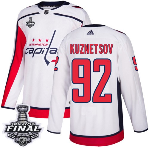 Capitals 92 Evgeny Kuznetsov White 2018 Stanley Cup Final Bound Adidas Jersey