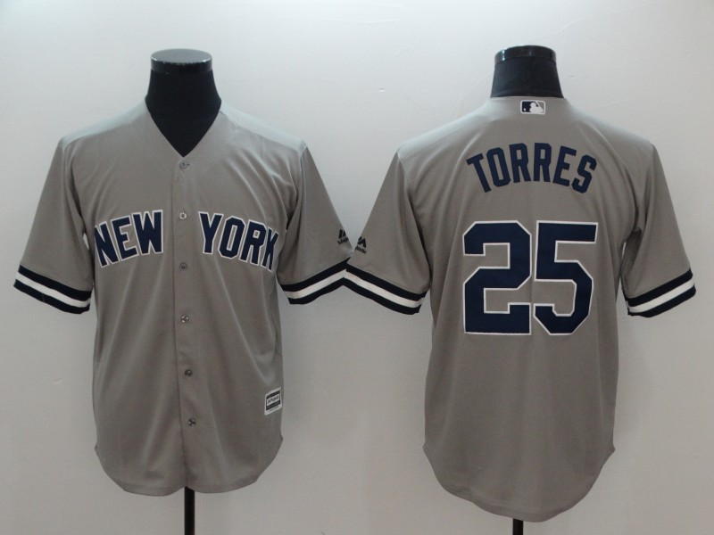 Yankees 25 Gleyber Torres Gray Cool Base Replica Player Jersey